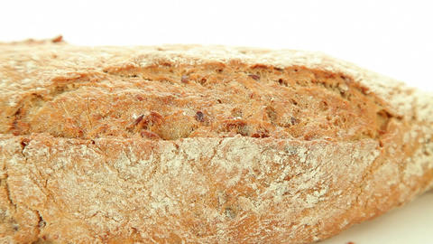 Bakery bread on white background closeup Footage