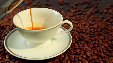 Pouring Fresh Hot Coffee In White Cup stock footage