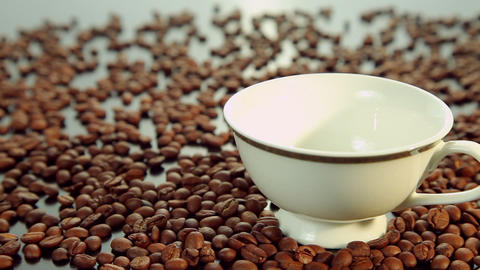Pouring hot fresh coffee, white cup Stock Video Footage
