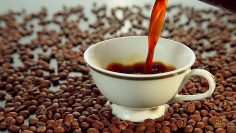 Pouring Hot Fresh Coffee, White Cup stock footage