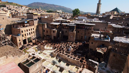 Tannery in Fes, Morocco Stock Video Footage