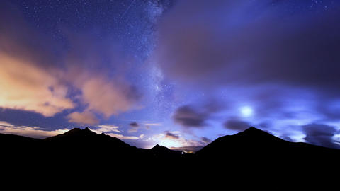4k UHD milky way clouds traffic in mountain 11156 Stock Video Footage