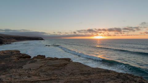 4k UHD time lapse sunset la pared beach pan 11168 Stock Video Footage