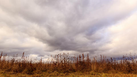 Clouds over dry grass. From bottom to top. Time La Footage