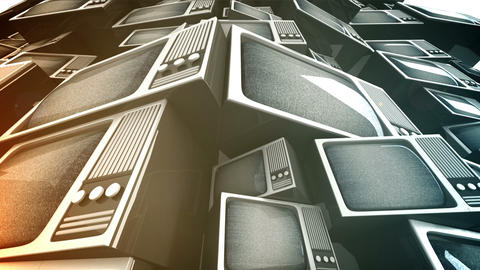 3D render of Vintage television pile Stock Video Footage