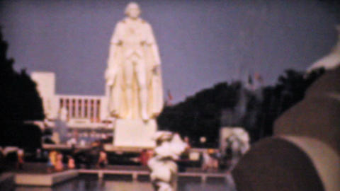George Washington Statue 1940 Vintage 8mm Film stock footage