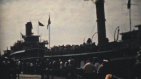 New York Harbor Tour Boat 1940 Vintage 8mm film Stock Video Footage