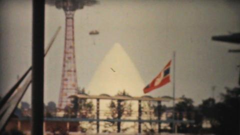 Parachute Drop At Amusement Park 1940 Vintage 8mm Stock Video Footage