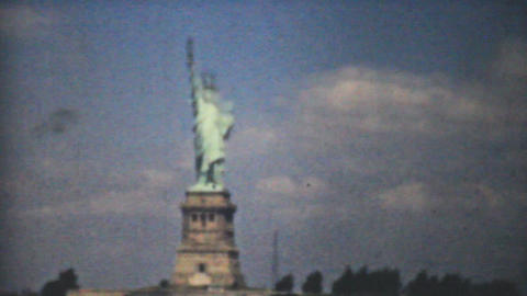Statue Of Liberty New York Skyline 1940 Vintage 8m Stock Video Footage