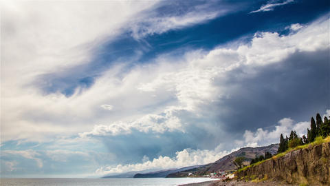 Stormy sky over sea time lapse Stock Video Footage