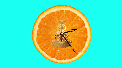 Orange clock on the green background, Timelapse Stock Video Footage
