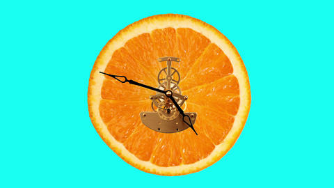 Orange clock on the green background, Timelapse Footage