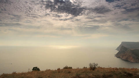 Cloudy sky over the mountains and the sea. Balakla Stock Video Footage