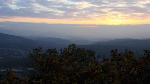 Timelapse sunrise in the mountains. Cave city Eski Stock Video Footage