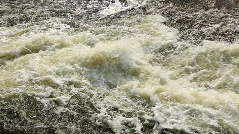 Seething water on a waterfall Stock Video Footage