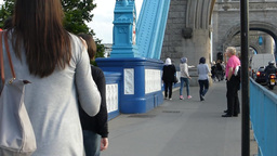 PEOPLE MOVING TO & FRO LONDON TOWER BRIDGE (LONDON Stock Video Footage