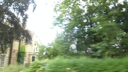 Street view of Oxford University from a car, UK.(O Footage