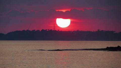 timelapse sunset with clouds over sea Stock Video Footage