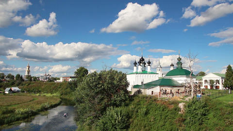 view on churches in Suzdal Russia Stock Video Footage
