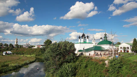 view on churches in Suzdal Russia Footage