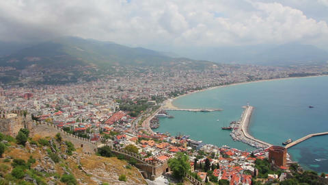 panorama of Alanya Turkey - view from fortress Stock Video Footage