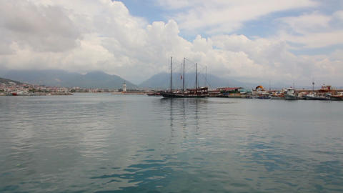 panorama of bay in Alanya Turkey Stock Video Footage