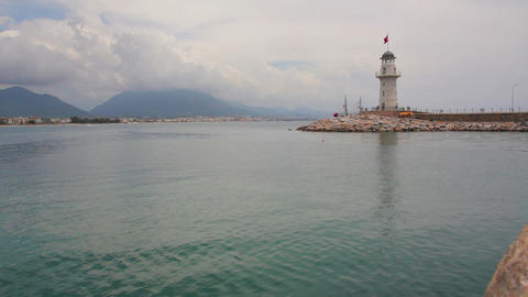 timelapse with ships go out of bay - Alanya Turkey Stock Video Footage
