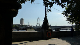 Distant Zoom-out View Of London Eye Near River Thames, UK, London stock footage