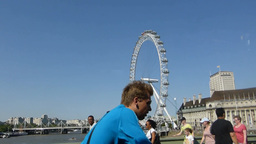 Full view of London Eye wheel taken from Hungerfor Stock Video Footage