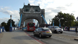 TRAFFIC MOVING TO & FRO LONDON TOWER BRIDGE, WITH Stock Video Footage