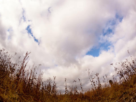 Clouds over dry grass. Fisheye lens Time Lapse. 4x Footage