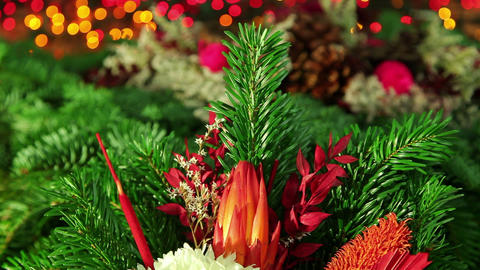 Christmas decoration background with tree branch Footage
