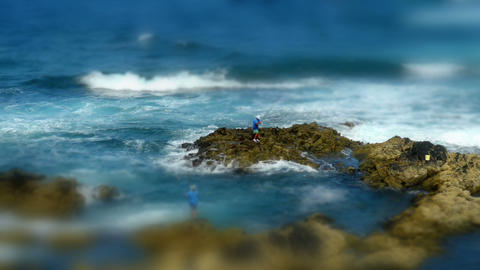 coast fishing tilt shift 11176 Footage