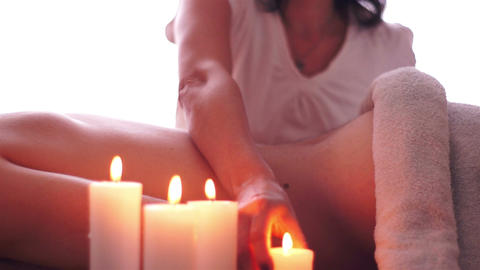 Hot Candle Wax Massage Stock Video Footage