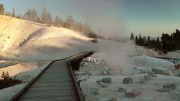 Hot Spring Geyser and Boardwalk Stock Video Footage