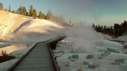 Hot Spring Geyser and Boardwalk Stock Video Footage