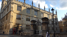 Panning from Magdalen College to the street.(OXFOR Stock Video Footage