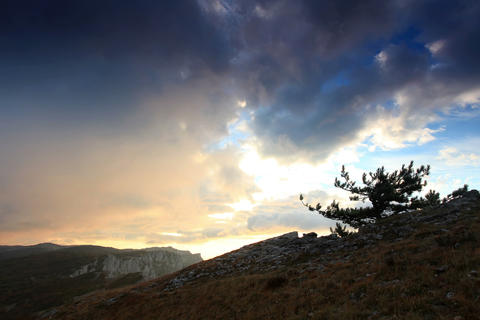 4K. Timelapse sunrise in the mountains Ai-Petri. A Stock Video Footage