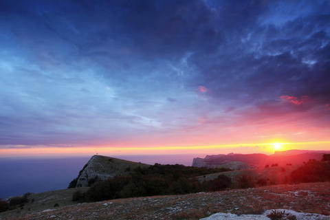 4K. Timelapse sunset in the mountains Merdven-Kaya Stock Video Footage