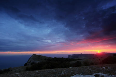 4K. Timelapse Sunset In The Mountains Merdven-Kaya stock footage