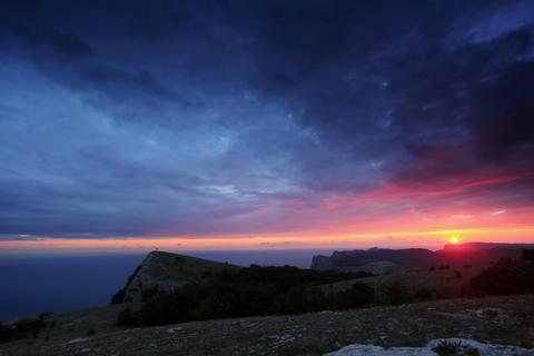 4K. Timelapse sunset in the mountains Merdven-Kaya Animation