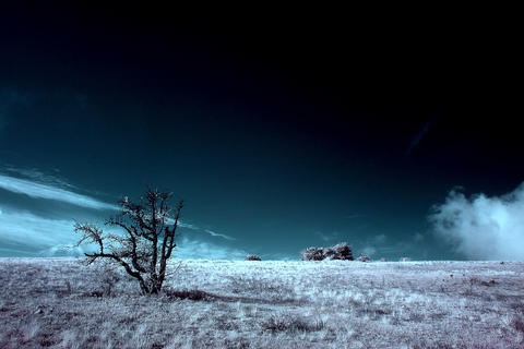 4K. InfraRed landscape: Movement of the clouds on Footage