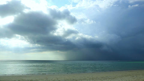 Rain clouds over the sea Stock Video Footage