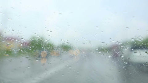 Driving In The Rain stock footage