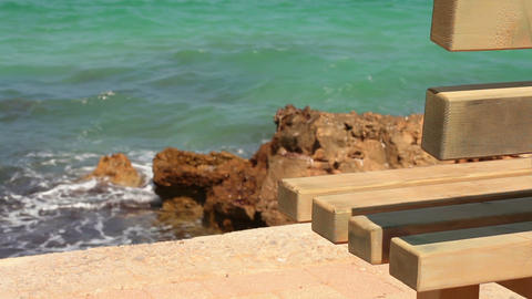 Bench by the sea Stock Video Footage