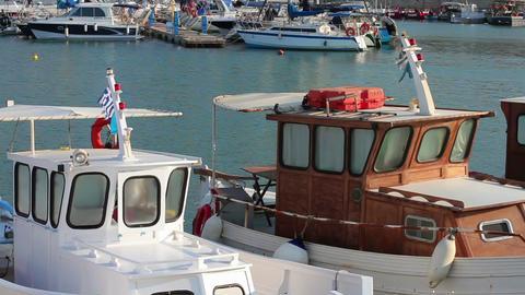 Sea port. Camera and fishing yachts Footage