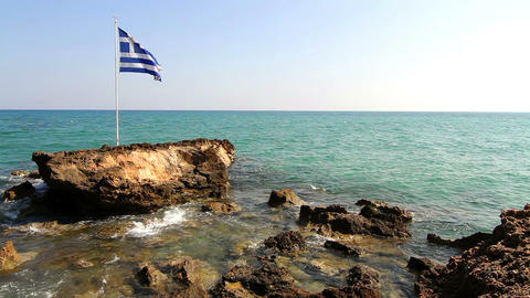 The Flag Of The Country Near The Sea stock footage
