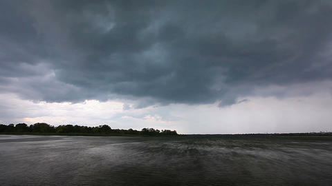 storm clouds over the river Stock Video Footage