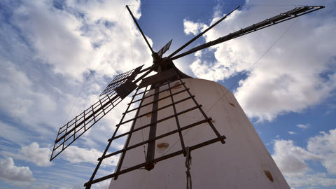 low angle windmill and clouds time lapse 11190 Footage