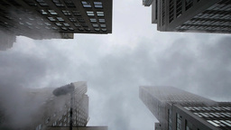 skyscrapers city urban. fog cloudy weather Stock Video Footage